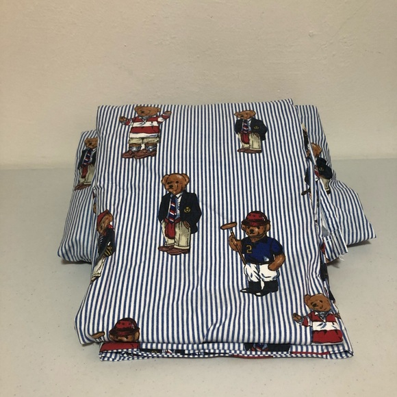 Ralph Lauren 90's Vintage Twin Polo Bear Sheets